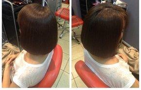 фотография Выпрямление по длине волос